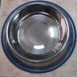 קערת נירוסטה לכלב עם גומי כחול
