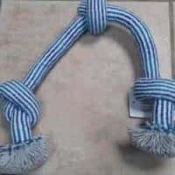 חבל דנטלי לכלב 3 קשרים כחול לבן