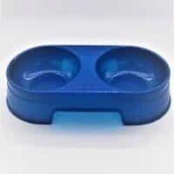 מתקן האכלה כפול לכלב קטן בצבע כחול